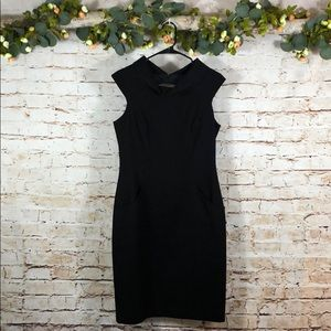 David Meister Black Textured Pocketed Shift Dress